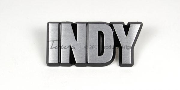 Indy aluminium font style