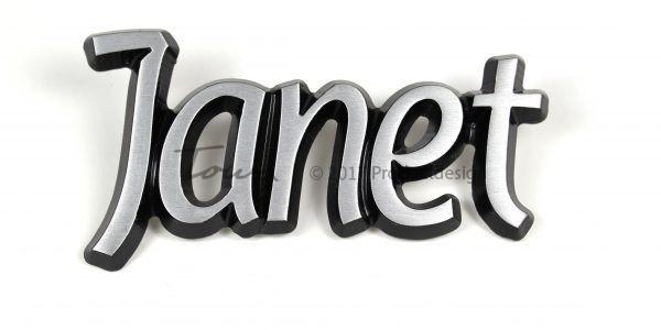 Janet aluminium font style
